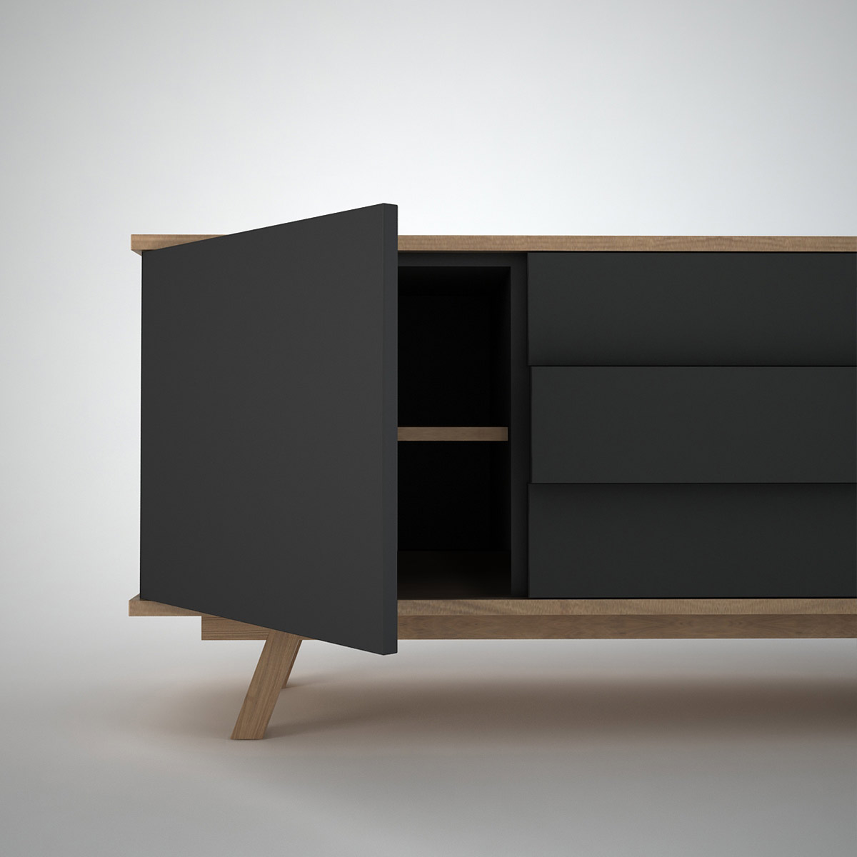 Contemporary: Ottawa Sideboard (2+3) Anthracite