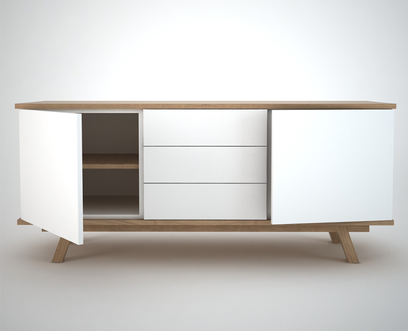 Contemporary Sideboard in white and oak with 2 doors and 3 drawers