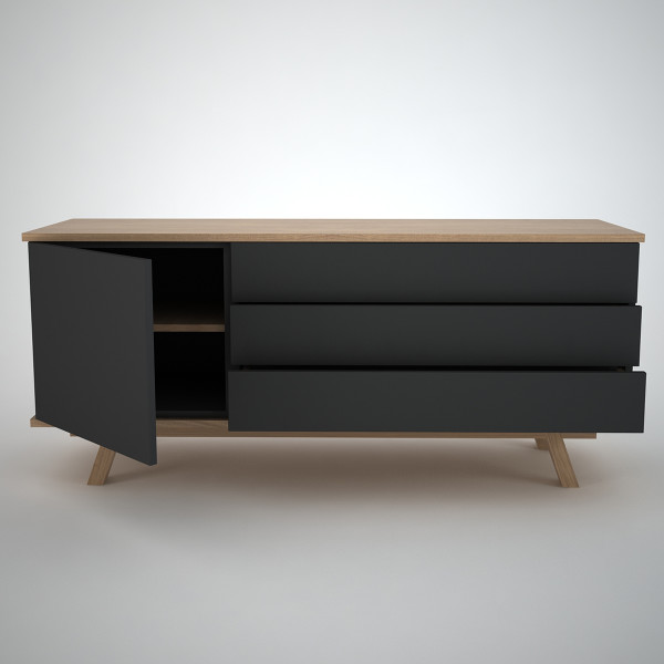 Modern sideboard in oak and anthracite
