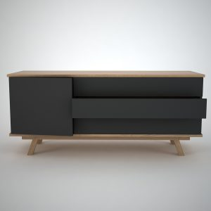 Modern Sideboard in oak and Charcoal