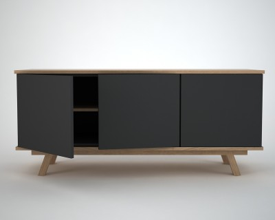 modern sideboard in oak and charcoal