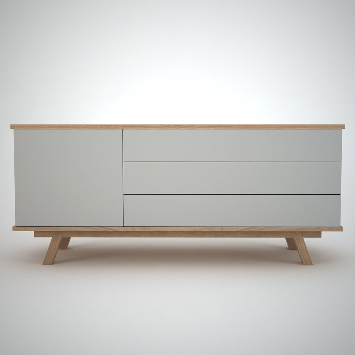 modern sideboard in clay and oak