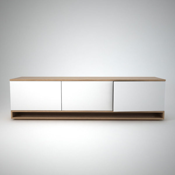 White and oak low sideboard